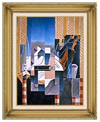 Juan Gris Violin And Guitar canvas with gallery gold wood frame