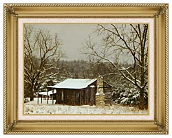 Ray Porter Cabin In The Woods canvas with gallery gold wood frame