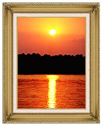 Ray Porter Red Sky At Night canvas with gallery gold wood frame