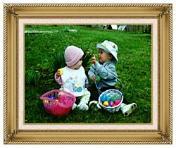 Ray Porter Our First Easter canvas with gallery gold wood frame