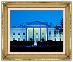 Visions of America White House In Evening Washington DC canvas with gallery gold wood frame