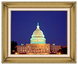 Visions of America U S Capitol Building At Night Washington D C canvas with gallery gold wood frame