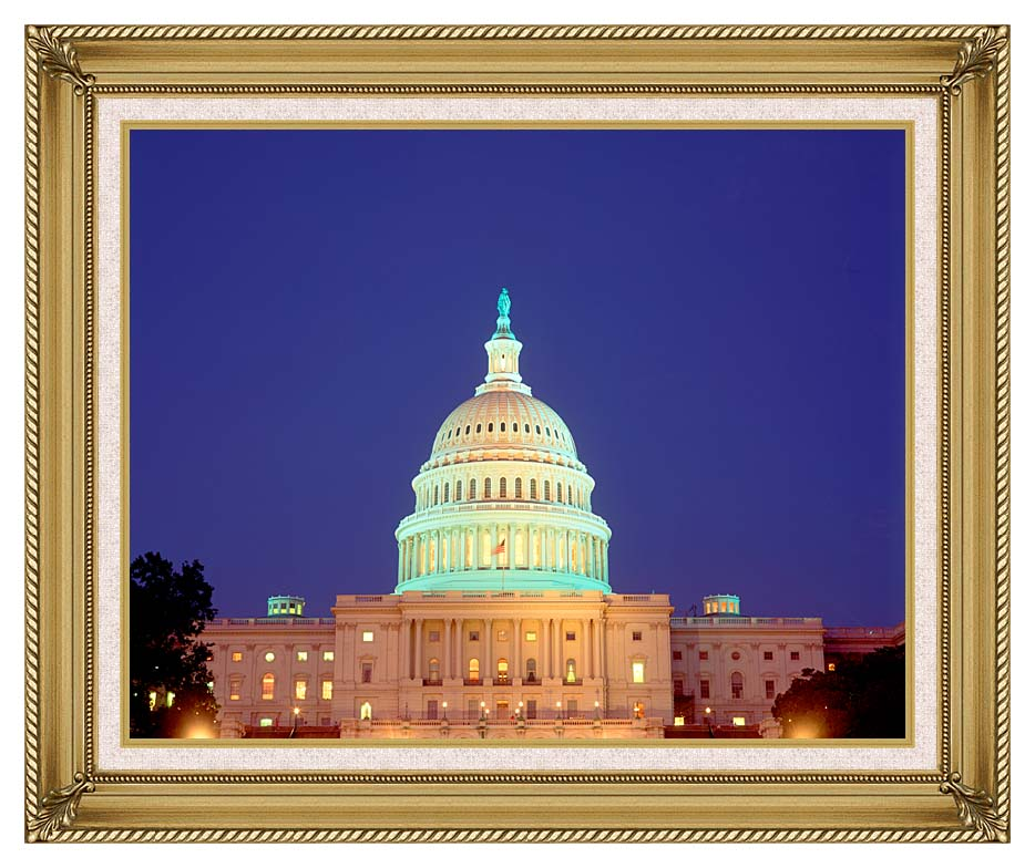 Visions of America U S Capitol Building at Night, Washington, D C with Gallery Gold Frame w/Liner