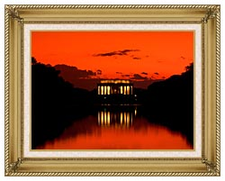 Visions of America Lincoln Memorial At Sunset With Red Sky canvas with gallery gold wood frame