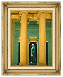 Visions of America Statue Of Thomas Jefferson Washington D C canvas with gallery gold wood frame