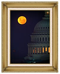 Visions of America Full Moon Over U S Capitol In Washington D C canvas with gallery gold wood frame