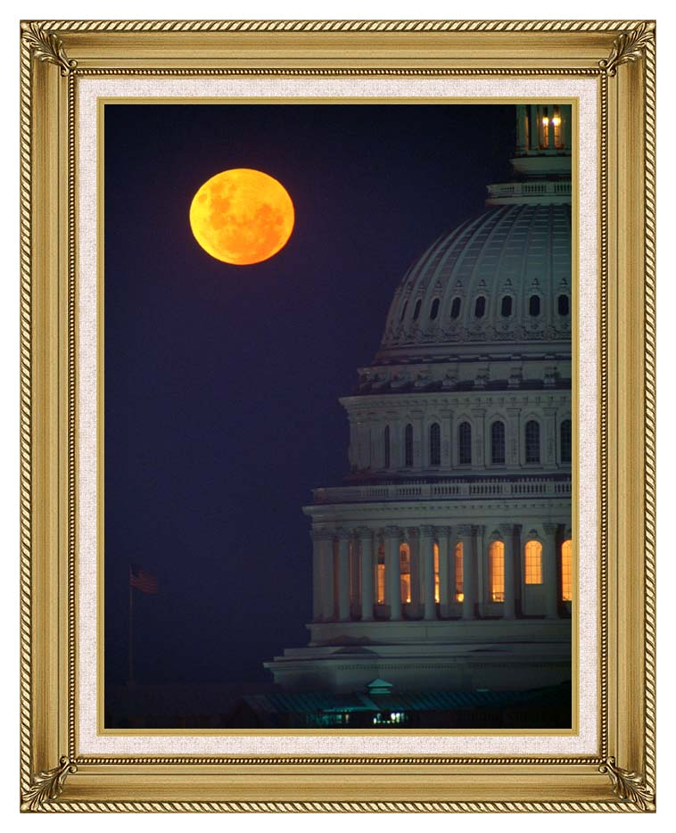 Visions of America Full Moon over U S Capitol in Washington, D C with Gallery Gold Frame w/Liner