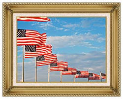 Visions of America American Flags At Washington National Monument canvas with gallery gold wood frame