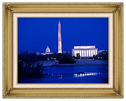 Visions of America Lincoln And Washington Monuments And U S Capitol canvas with gallery gold wood frame