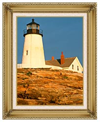 Visions of America Pemaquid Lighthouse Maine canvas with gallery gold wood frame