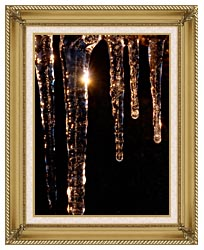 Visions of America Close Up Of Icicles Acadia National Park Maine canvas with gallery gold wood frame