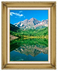 Visions of America Maroon Bell Mountain And Maroon Lake Colorado canvas with gallery gold wood frame