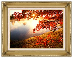Visions of America Misty Pond With Autumn Leaves In Connecticut canvas with gallery gold wood frame