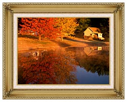 Visions of America Wood Shed On Lake In Autumn Connecticut canvas with gallery gold wood frame