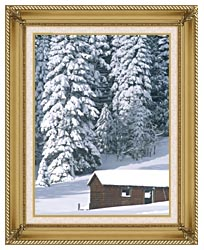 Visions of America Snow Covered Wooden Cabin In Forest California canvas with gallery gold wood frame