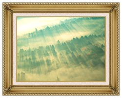 Visions of America Aerial View Of Forest On A Misty Morning Vermont canvas with gallery gold wood frame