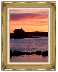 Visions of America House Silhouette At Sunrise Mt Desert Island Maine canvas with gallery gold wood frame