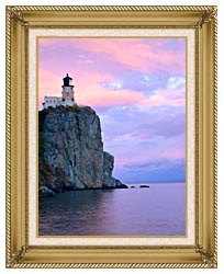 Visions of America Lighthouse Split Rock Minnesota canvas with gallery gold wood frame