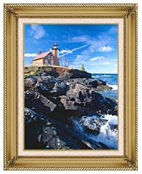 Visions of America Eagle Harbor Lighthouse Michigan canvas with gallery gold wood frame