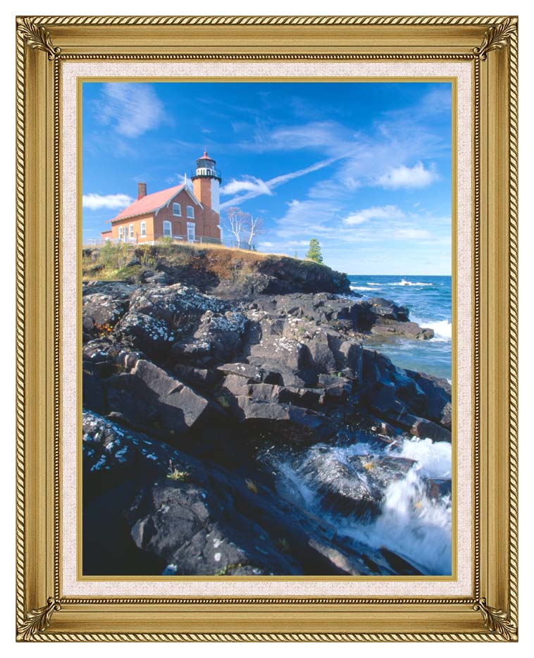Visions of America Eagle Harbor Lighthouse, Michigan with Gallery Gold Frame w/Liner