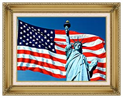 Visions of America American Flag And The Statue Of Liberty canvas with gallery gold wood frame
