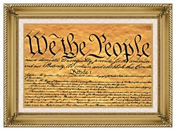 Visions of America Preamble To The U S Constitution   We The People canvas with gallery gold wood frame