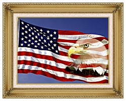Visions of America American Flag  And A Bald Eagle canvas with gallery gold wood frame