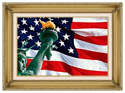 Visions of America Statue Of Liberty And American Flag canvas with gallery gold wood frame