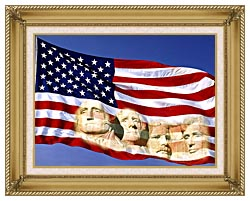 Visions of America American Flag And Mount Rushmore Presidents canvas with gallery gold wood frame