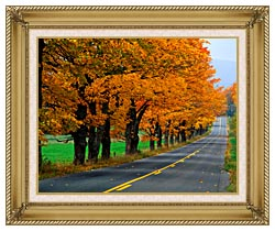 Visions of America An Autumn Road In New England canvas with gallery gold wood frame