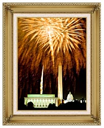 Visions of America Fourth Of July Celebration With Fireworks Exploding Over The Lincoln Memorial Washington Monument And U S Capitol Washington D C canvas with gallery gold wood frame