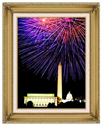 Visions of America Patriotic Fourth Of July Celebration With Fireworks canvas with gallery gold wood frame