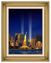 Visions of America World Trade Center Light Memorial canvas with gallery gold wood frame