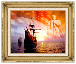 Visions of America Christopher Columbus American Flag Sailing Ships canvas with gallery gold wood frame