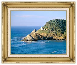 Visions of America Heceta Lighthouse Oregon canvas with gallery gold wood frame