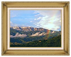 Visions of America Rainbow Over Topa Topa Mountains In Ojai California canvas with gallery gold wood frame