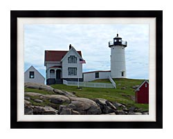 Brandie Newmon Nubble Lighthouse York Maine canvas with modern black frame