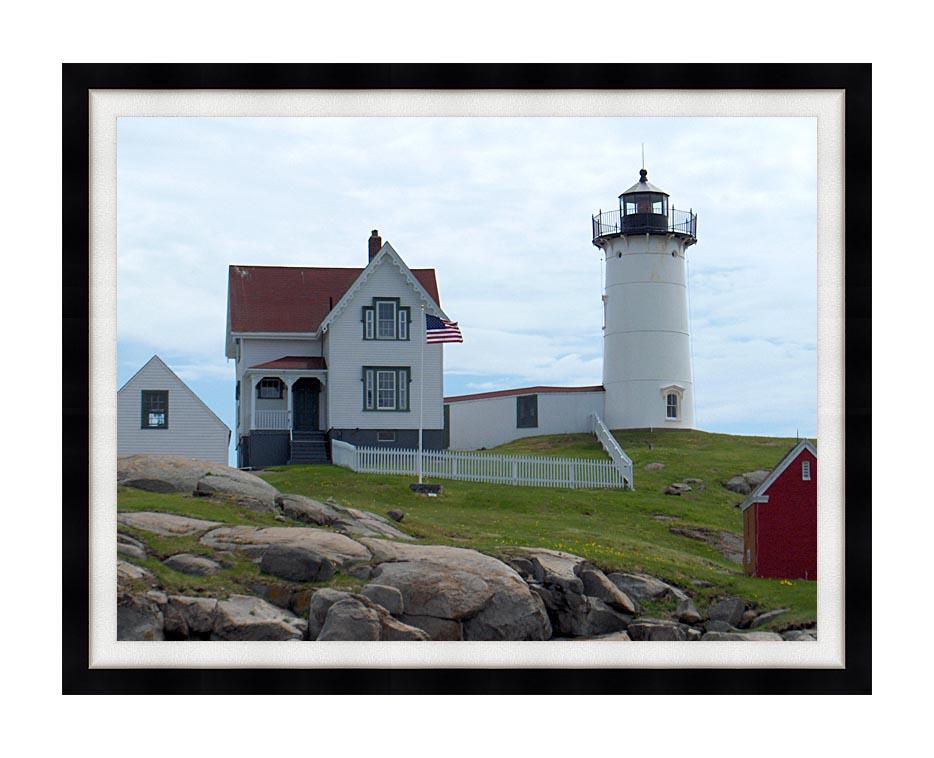 Brandie Newmon Nubble Lighthouse, York Maine with Modern Black Frame