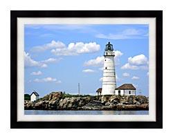 Brandie Newmon Boston Lighthouse Little Brewster Island Massachusetts canvas with modern black frame