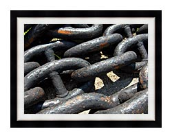 Brandie Newmon Ship Anchor Chains canvas with modern black frame