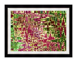 Brandie Newmon Maroon And Green Abstract canvas with modern black frame