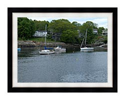 Brandie Newmon Fishing Boats In Ogunquit Maine canvas with modern black frame
