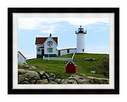 Brandie Newmon Cape Neddick Lighthouse York Maine canvas with modern black frame
