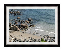 Brandie Newmon Coastline In Ogunquit Maine canvas with modern black frame