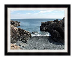 Brandie Newmon Rocks Along The Maine Coastline canvas with modern black frame