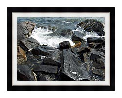 Brandie Newmon Ocean Waves Crashing Into The Rocky Maine Coast canvas with modern black frame
