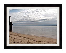 Brandie Newmon Sandy Beach In Provincetown MA canvas with modern black frame