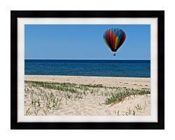 Brandie Newmon Hot Air Balloon At The Beach canvas with modern black frame