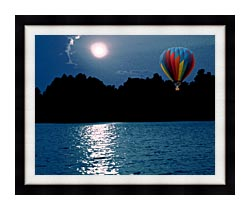 Brandie Newmon Hot Air Balloon At Night canvas with modern black frame
