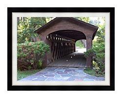 Brandie Newmon Covered Wooden Bridge canvas with modern black frame